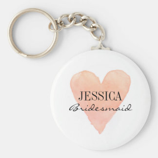 Custom bridesmaid coral watercolor heart keychains