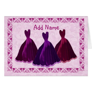 CUSTOM - Bridesmaid Invitation Purple Velvet Gowns Card