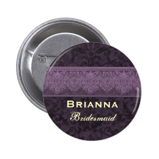 Custom  Bridesmaid Purple and Cream Damask Ribbon 6 Cm Round Badge