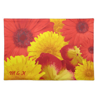 Custom Bright Red Daisies Yellow Chrysanthemums Place Mat
