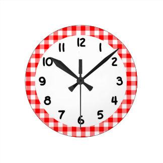 Custom Bright Red Gingham Clock
