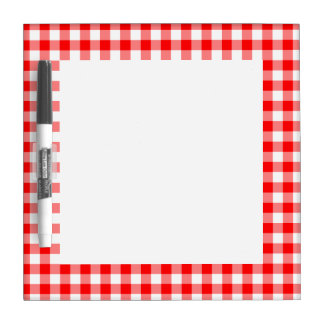 Custom Bright Red Gingham Dry Erase Board