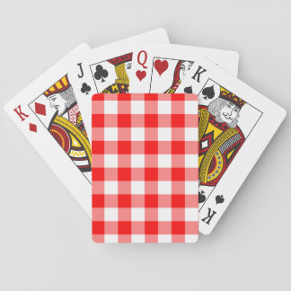 Custom Bright Red Gingham Playing Cards