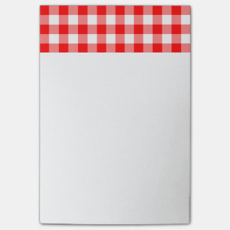 Custom Bright Red Gingham Post-it Notes