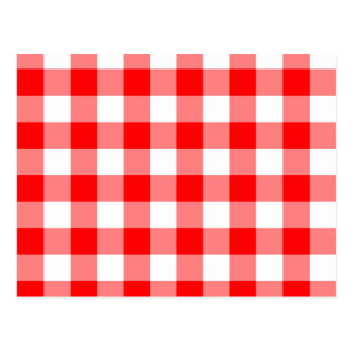 Custom Bright Red Gingham Postcard