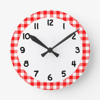 Custom Bright Red Gingham Round Clock