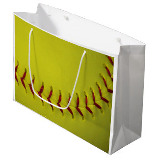 Custom Bright Yellow Softball Large Gift Bag