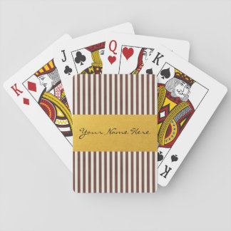 Custom Brown & Cream Vertical Textured Stripes Playing Cards
