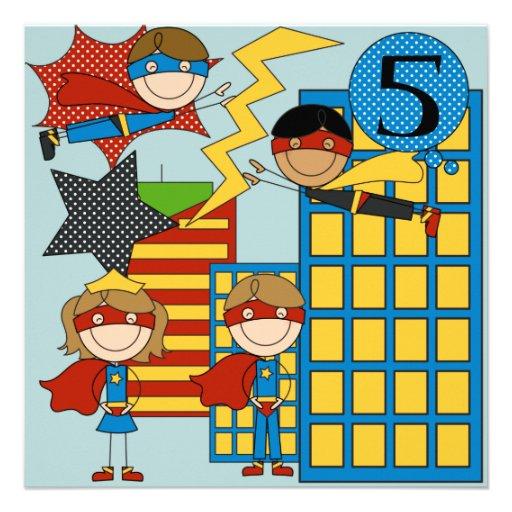 Custom brown hair boy super hero birthday invites 13 cm x 13 cm square