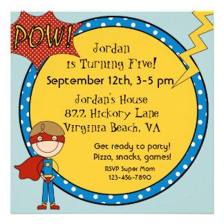 Custom Brown Hair Boy Super Hero Birthday Invites