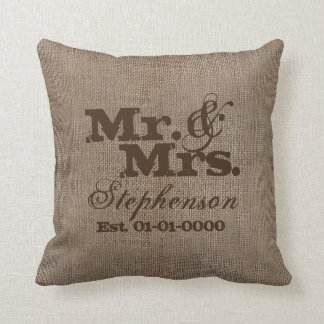 Custom Brown Rustic Burlap-Look Wedding Keepsake Cushion