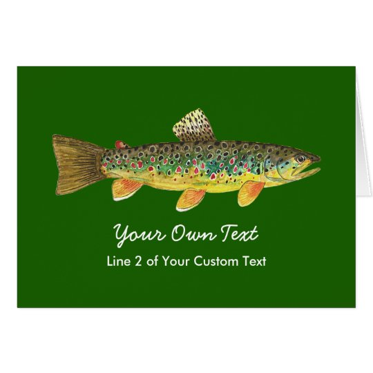 Custom Brown Trout Fly Fishing Angling Card