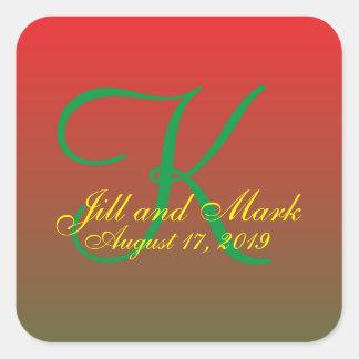 Custom Budget Monogram Wedding Red Gradient Square Sticker