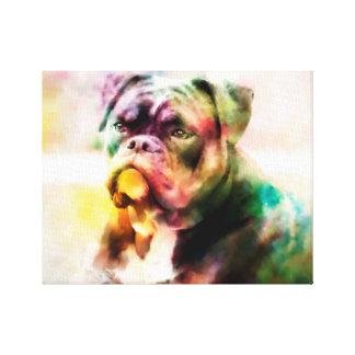 Custom Bulldog Watercolor Painting Canvas Print