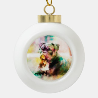 Custom Bulldog Watercolor Painting Ceramic Ball Decoration