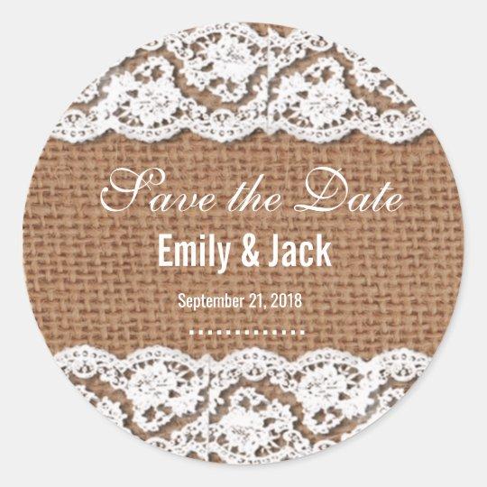 Custom Burlap & Lace Save the Date Wedding