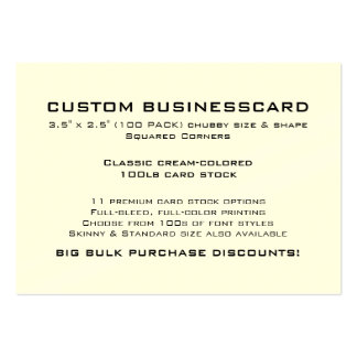 """Custom Business Card 3.5"""" x 2.5"""" CREAM Finish Pack Of Chubby Business Cards"""