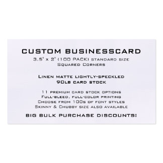 "Custom Business Card 3.5"" x 2"" LINEN Finish"