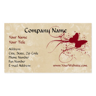 Custom Business Card Red Cream Butterfly Design