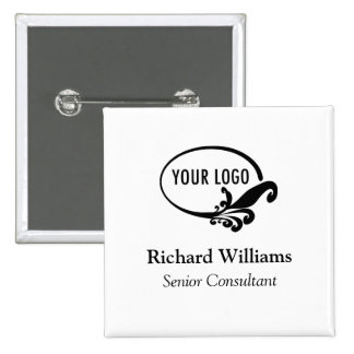Custom Business Logo Name Badge Button