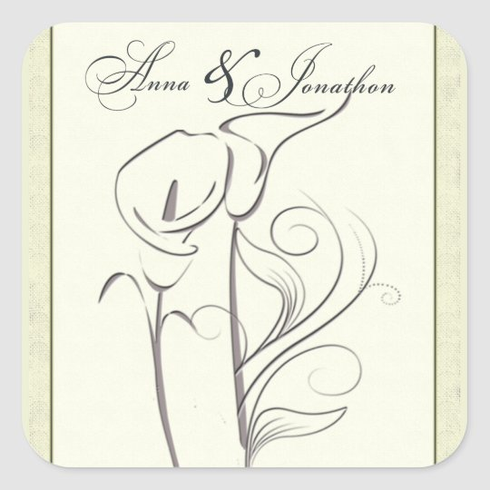 Custom Calla lily Wedding Sticker