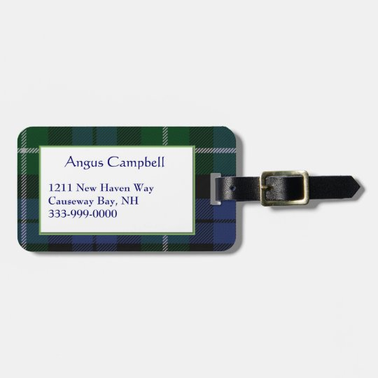 Custom Campbell Tartan Plaid Luggage Tag