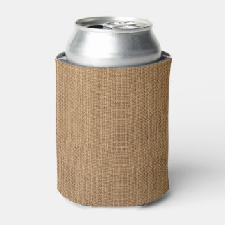 Custom Can Cooler print with rustic brown canvas
