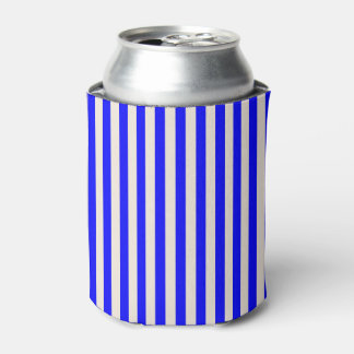 Custom Can Cooler. Vertical Blue & Cream Stripes. Can Cooler