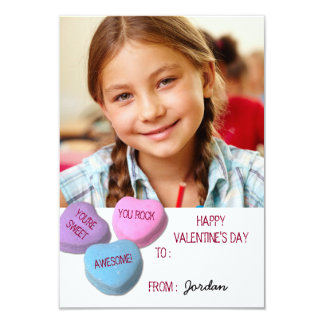 Custom Candy Heart Valentine's Day Classroom Photo 9 Cm X 13 Cm Invitation Card