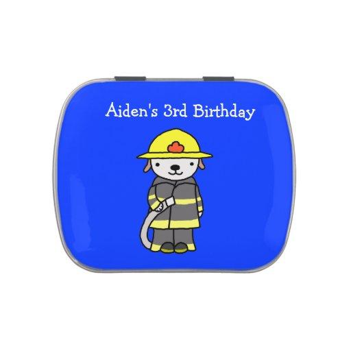 Custom Candy Tin Boy Birthday Favor Fireman Dog