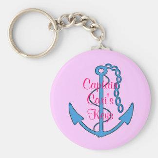 Custom Captain's Pink Womens Keys Anchor Keychain