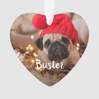 Custom Caption Pet Photo Ornament
