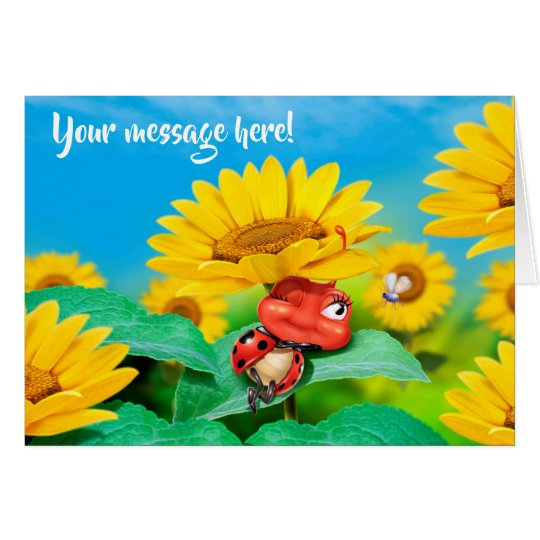 Custom card Snoozing little Ladybug sunflowers