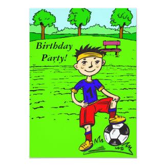 Custom Cartoon Soccer Boy Birthday Party Invitatio 13 Cm X 18 Cm Invitation Card