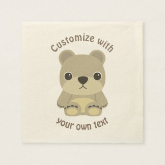 Custom Cartoon Teddy Bear Disposable Serviettes