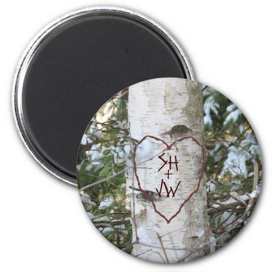 Custom Carved Birch Tree 6 Cm Round Magnet