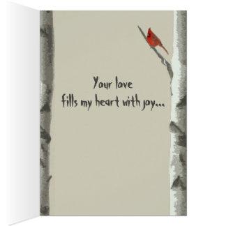 Custom Carved Hearts On Birch Tree III Valentine's Greeting Card