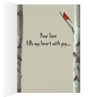 Custom Carved Hearts On Birch Tree Valentine's Card