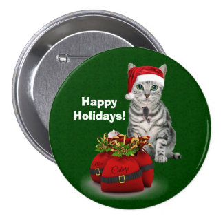 Custom Cat and Mouse Christmas 7.5 Cm Round Badge