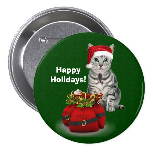 Custom Cat and Mouse Christmas Pinback Buttons