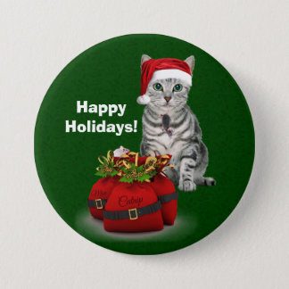 Custom Cat and Mouse Christmas on Green 7.5 Cm Round Badge