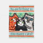Custom Cat Lover's Cat Art Fleece Blanket