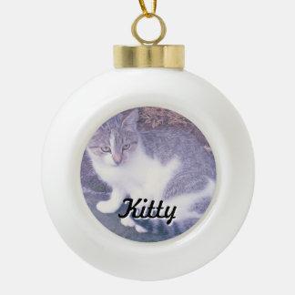 Custom cat photo Christmas tree ball decorations