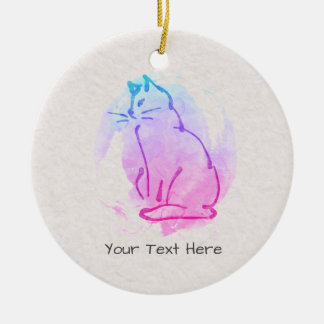 Custom Cat Watercolor Sketch - Your Text on this Christmas Ornament