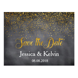 Custom Chalkboard Gold Foil Confetti Save the Date Postcard