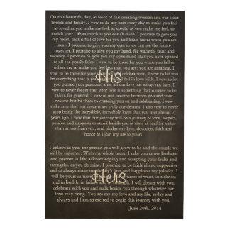 Custom Chalkboard Wedding Vows Wood Print