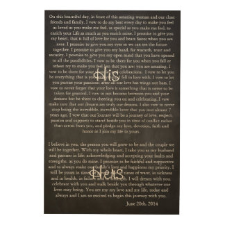 Custom Chalkboard Wedding Vows Wood Prints