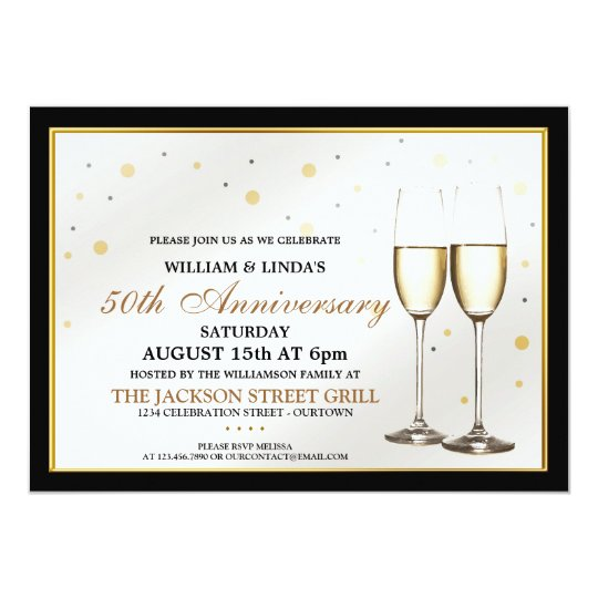 Custom Champagne Anniversary Party Invitations