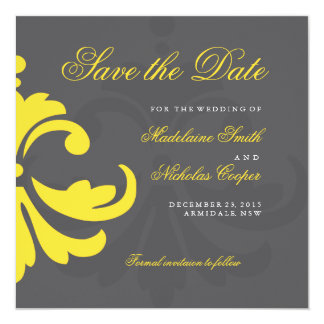 Custom charcoal and white damask save the date 13 cm x 13 cm square invitation card