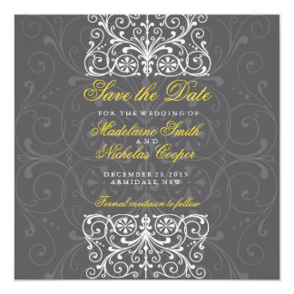 Custom charcoal and white vintage save the date card